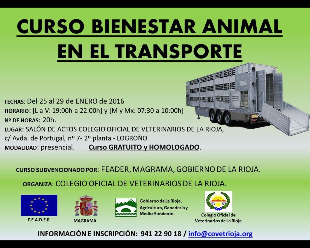 Cartel CURSO BIENESTAR ANIMAL TRANSPORTE