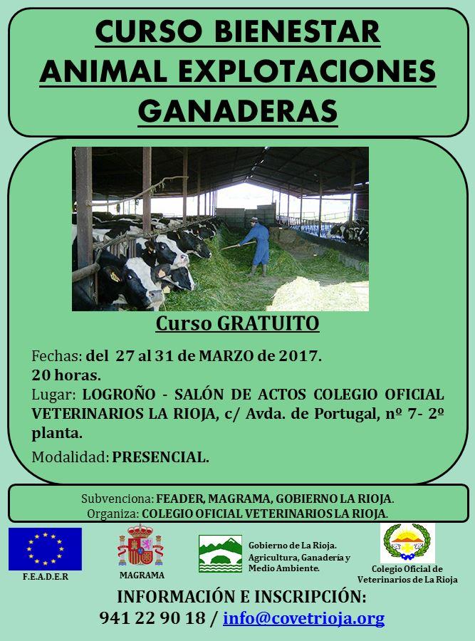 Cartel CURSO BIENESTAR ANIMAL EXPLOTACIONES GANADERAS